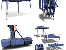 JOM 127117 Barnum de Jardin, Pliable, bâche Bleue, Oxford 200D, tiges...